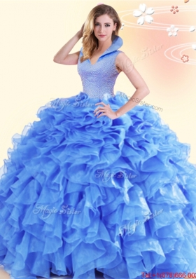 Affordable Ruffled and Beaded High Neck Quinceanera Dress with Backless