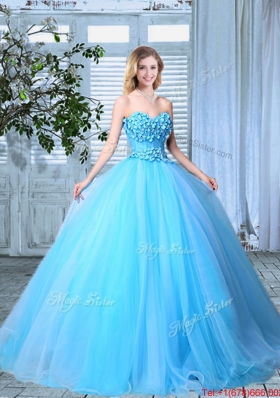 Beautiful Applique Decorated Bust Baby Blue Quinceanera Gown in Organza