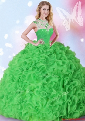 Beautiful Organza Beaded and Ruffled Quinceanera Dress in Spring Green