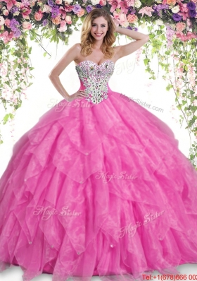 Best Selling Beaded and Ruffled Quinceanera Dress in Hot Pink