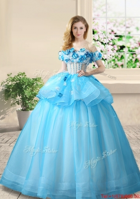 Best Selling Off the Shoulder Baby Blue Quinceanera Gown with Appliques and Beading