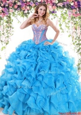 Best Selling Ruffled and Beaded Baby Blue Quinceanera Dress in Organza