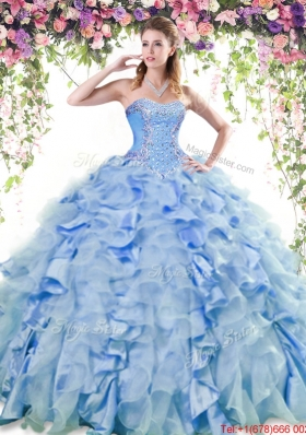 Cheap Beaded and Ruffled Quinceanera Dress in Organza and Taffeta