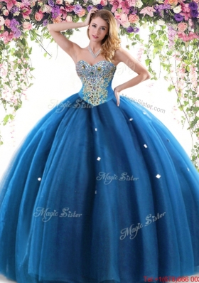 Classical Really Puffy Tulle Quinceanera Dress with Beading