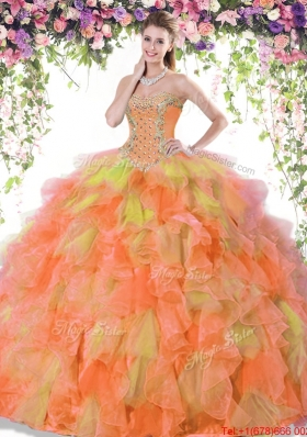 Elegant Ball Gown Ruffled and Beaded Two Tone Quinceanera Dress in Organza