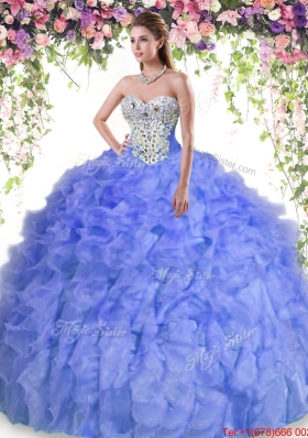 Elegant Really Puffy Beaded and Ruffled Quinceanera Dress in Lavender