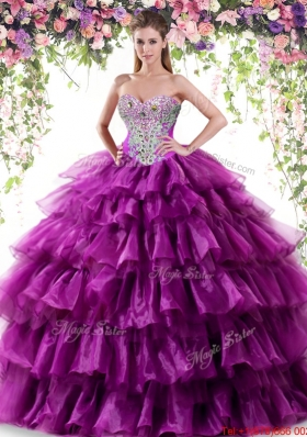 Exquisite Ruffled Layers Dark Purple Quinceanera Dress with Beading