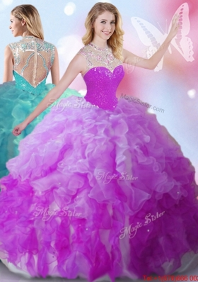 Exquisite See Through High Neck Beaded and Ruffled Quinceanera Gown