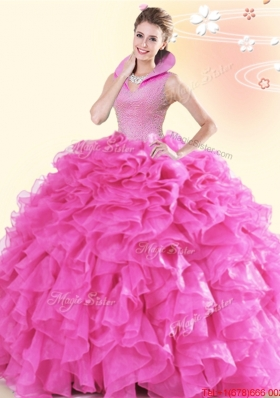 Fashionable Ruffled and Beaded Hot Pink Quinceanera Dress with High Neck