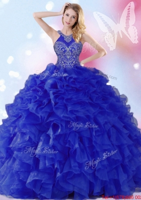 Gorgeous Beaded and Ruffled Royal Blue Quinceanera Dress with Halter Top