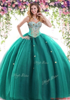 Gorgeous Puffy Skirt Tulle Beaded Turquoise Quinceanera Dress