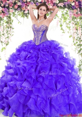 Hot Sale Brush Train Ruffled and Beaded Organza Quinceanera Dress for 2017