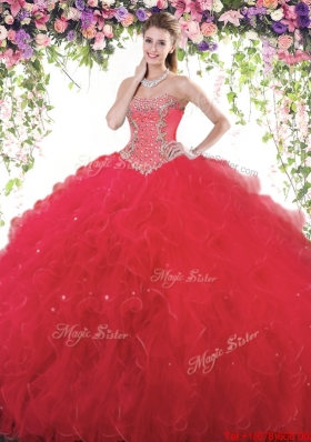 Hot Sale Tulle Red Quinceanera Gown with Beading and Ruffles