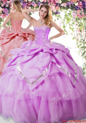 Latest Bubble and Beaded Lilac Quinceanera Dress in Organza