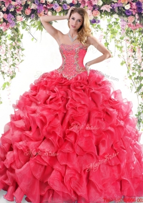 Latest Organza Beaded and Ruffled Quinceanera Gown in Red