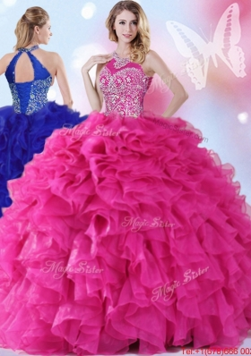 Luxurious Halter Top Beaded and Ruffled Hot Pink Quinceanera Gown