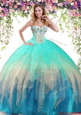 Modern Tulle Beaded Quinceanera Dress in Gradient Color