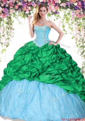 Modest Beaded and Bubble Two Tone Quinceanera Dress in Taffeta