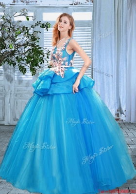New Arrivals Scoop Applique and Handcrafted Flowers Quinceanera Gown in Blue