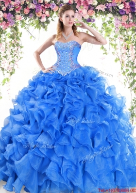 New Style Puffy Skirt Ruffled and Beaded Quinceanera Dress with Brush Train