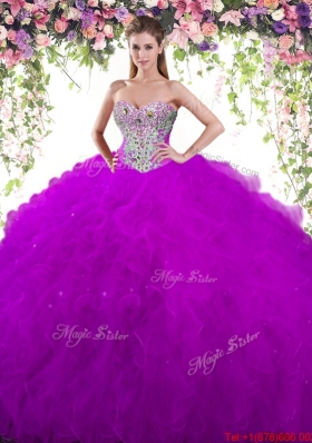 Popular Ruffled and Beaded Quinceanera Gown in Eggplant Purple