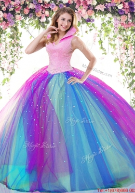 Pretty Really Puffy High Neck Rainbow Quinceanera Dress with Beading