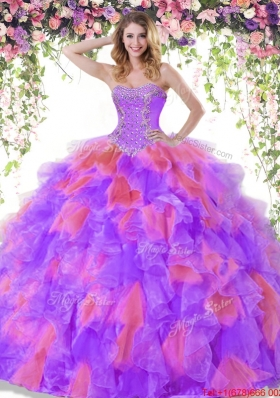 Pretty Ruffled and Beaded Two Tone Quinceanera Dress in Organza