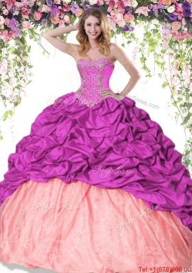 Romantic Beaded Brush Train Taffeta Quinceanera Dress in Two Tone