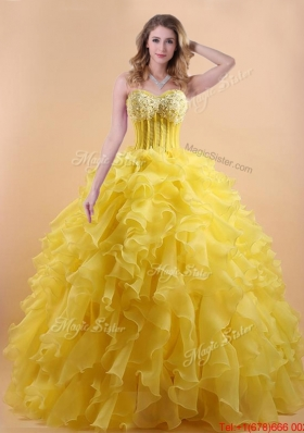 Simple Applique and Ruffled Yellow Quinceanera Gown in Organza