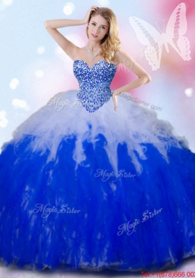 Simple Beaded and Ruffled White and Royal Blue Quinceanera Dress in Tulle