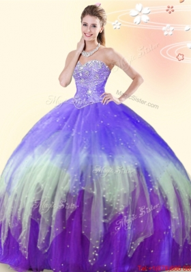 Simple Gradient Color Tulle Quinceanera Dress with Beading