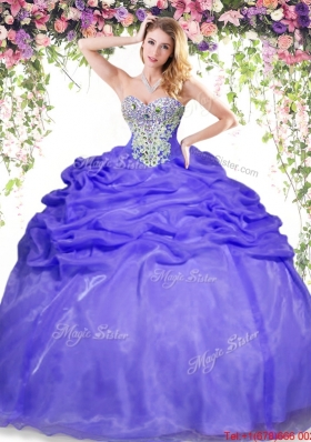 Simple Puffy Skirt Beaded and Bubble Quinceanera Dress in Lavender