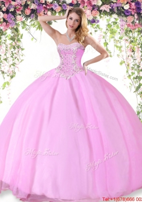 Summer Latest Beaded Tulle Quinceanera Dress in Rose Pink