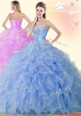 Summer Modest Beaded and Ruffled Organza Blue Quinceanera Dress