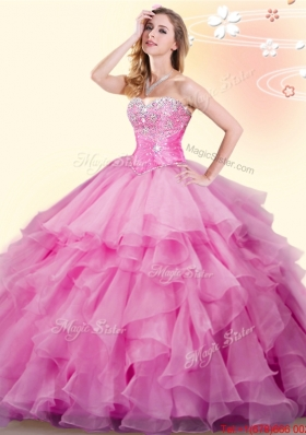 Sweet Really Puffy Ruffled and Beaded Quinceanera Gown in Rose Pink