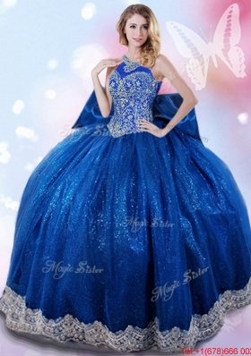 Beautiful Beaded and Bowknot Royal Blue Quinceanera Gown with Halter Top