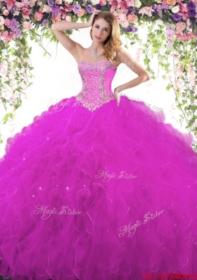 Best Tulle Beaded and Ruffled Quinceanera Gown in Fuchsia