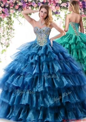 Classical Organza Beaded Sweet 16 Dress with Ruffled Layers