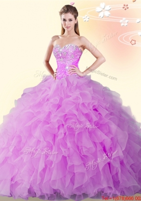 Elegant Beaded and Ruffled Lilac Sweet 15 Dress in Organza