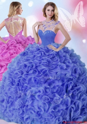Gorgeous See Through High Neck Ruffled and Beaded Quinceanera Dress