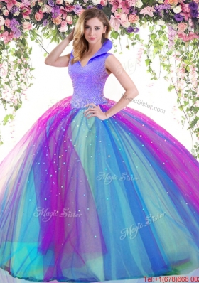 Lovely Big Puffy Beaded Tulle Quinceanera Dress with High Neck