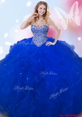 Modest Puffy Skirt Beaded and Ruffled Sweet 16 Dress in Royal Blue