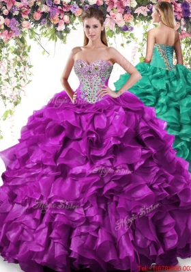 New Arrivals Beaded and Ruffled Dark Purple Quinceanera Dress in Organza