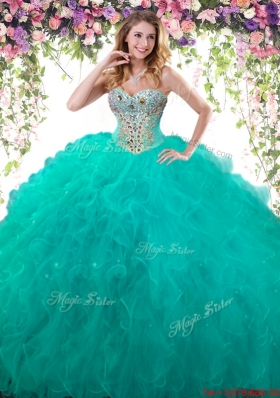 New Style Beaded and Ruffled Turquoise Quinceanera Dress in Tulle