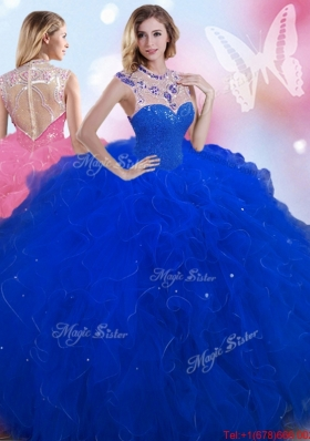 Perfect Beaded and Ruffled Royal Blue Quinceanera Dress with High Neck
