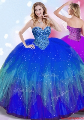 Perfect Big Puffy Royal Blue Quinceanera Dress with Beaded Bodice