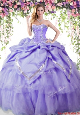 Popular Bubble and Beaded Lavender Sweet 16 Dress in Organza