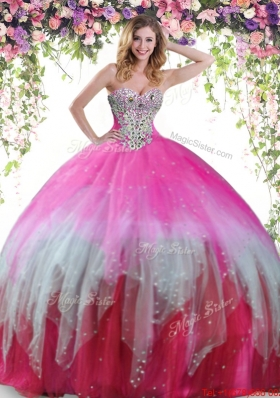 Romantic Big Puffy Tulle Multi Color Quinceanera Dress with Beading