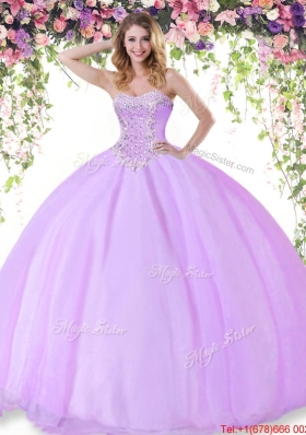 Summer New Style Tulle Beaded Quinceanera Gown in Lilac