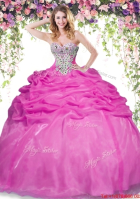 Summer Romantic Hot Pink Quinceanera Dress with Beading and Bubbles